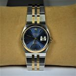 Rare ROLEX wristwatch. Bicolor with blue dial. Quartz movement. Diameter 36 mm. Very good...