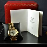 Automatic chronograph CARTIER Pasha. Completely made of 18ct gold 162 g. Ø 39mm. Very good...