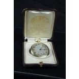 18ct gold  and sapphire pocket watch. Extra thin. Signed Haas Neveux Genève. Silver clock face....