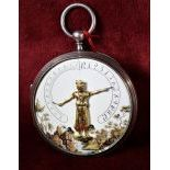 Silver pocket watch. Automatic  Hands in the air Enameled clock face. Diameter 57 mm. To revise