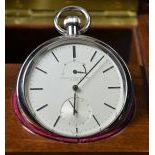 Pocket watch ECOLE HORLOGERIE LE LOICLE No. 239. Manufactured for H. DeGiorgi. With 48 hour power...