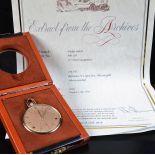 Montre de poche PATEK PHILIPPE en or rose 18ct. Avec box et extrait d'origine.