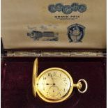 18 carat gold pocket watch with minute repeater. Signed Movado Grand Prix 1910. Original box and a...