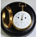 18th century 18 carat gold pocket watch. Meuron et Comp. Bell strike mechanism on the go or on...