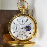 18 carat gold Savonette pocket watch. Ongoing calendar, signed Charles Edouard Lardet. Diameter 52...