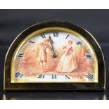 Travel clock with original suitcase. Gilded brass and painted clock face. Signed Frésard à...