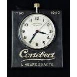 Chronomètre réclame de bureau CORTEBERT avec secondes au centre.