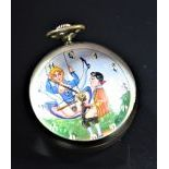 Spherical clock with erotic scene, signed Marvin. The clock face is painted. Very good condition.