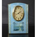 Table clock with 8 day mechanism. Gilded silver and guilloched. VENISE