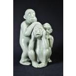 Groupe de 3 singes ne rien voir, ne rien dire, ne rien entendre, Celadon, probablement...