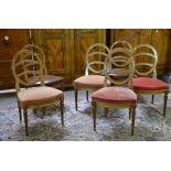 6 chaises Louis XVI en noyer.