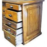 Restored sales counter made of massive fir wood. With 23 drawers. Restored. 90x199x68cm