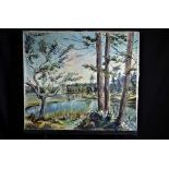 Oil on canvas Landscape with pond, signed A. Cattin. 66 x 76cm.