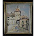 Watercolor Waldenburg, signed Pierre Chàtillon. 57 x 45cm.