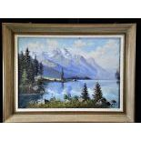 Oil on canvas Lake Sils, signed E. Frei. 48 x 66cm.
