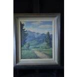 Oil on cardboard Shepherd in Mountain landscape, signed Gottfried Lüscher 1881 - 1976. 48 x 39cm.