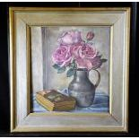 Oil on canvas Roses in vase, signed Guido Lucca, 1936. 42 x 37cm.