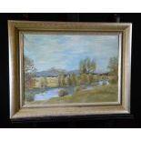 Oil on canvas River landscape, signed E. Senn, 1947. 45 x 59cm.