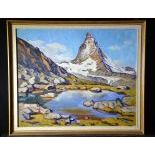 Painting on Pavatex Matterhorn, signed Henri Chàtillon. 49 x 58cm.