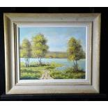 Oil on canvas Landscape of a lake, signed A. Boss. 39 x 49cm.