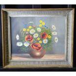 Oil on Pavatex Feldblumen, signed Glauser. 39 x 48cm.