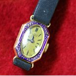 Women's wristwatch Art Deco enameled.
