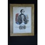 La Mairie Bräutigam, wedding vow framed under glass, old colored lithography, height   38,0, width...