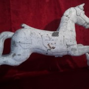 Horse riding white wooden