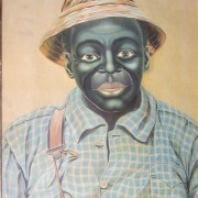 Animated picture The black boy in overalls who laughs